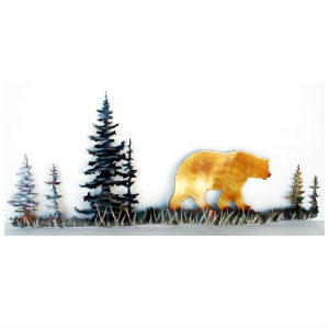 Bear Wall Art metal heat colored wall art